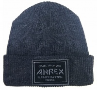 Ahrex Ribbed Knit Woven Patch Beanie - Dark Grey